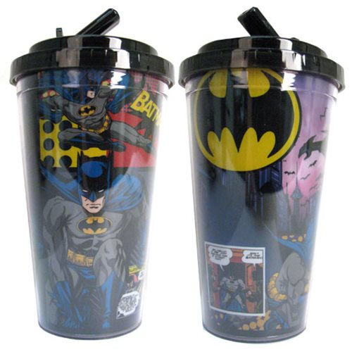Batman Comic 16 oz. Flip-Straw Travel Cup