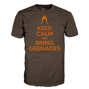 Keep Calm and Bring Grenades Juniors Brown T-Shirt