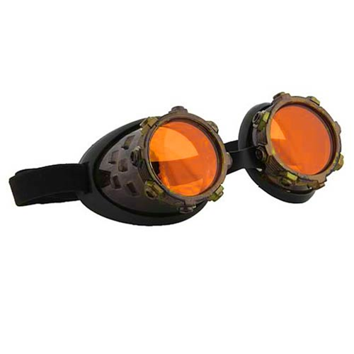 Steampunk CyberSteam Gold/Orange Goggles