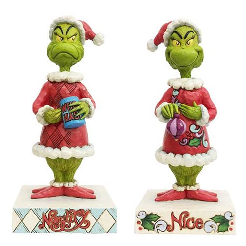 Dr. Seuss The Grinch Grinch Two-Sided Naughty Nice Statue by Jim Shore
