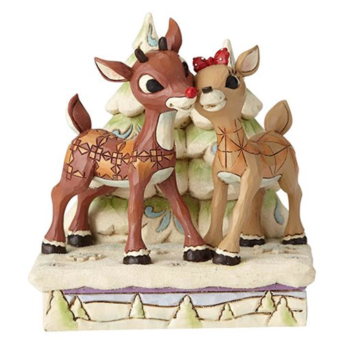 Rudolph the Red-Nosed Reindeer Rudolph and Clarice by Trees Statue by Jim Shore