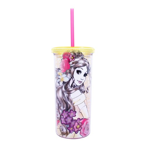 Disney Princess Belle Sketch 20oz Plastic Tall Cold Cup with Lid and Straw