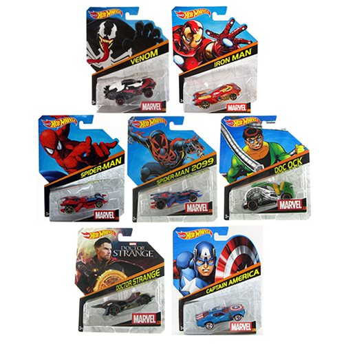Hot Wheels Marvel Character Cars 1:64 Scale 2016 Wave 6 Case