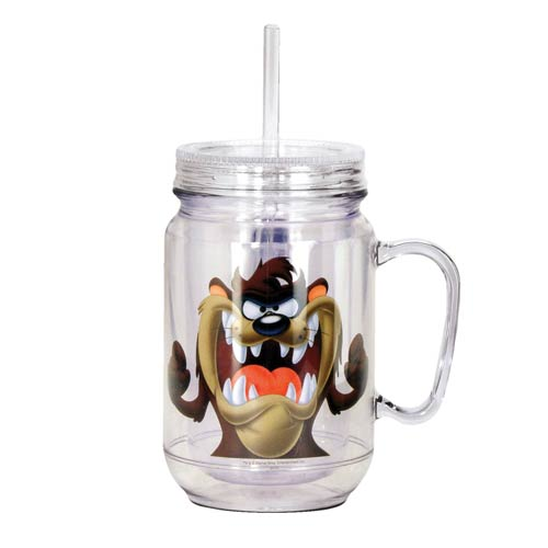 Looney Tunes Tasmanian Devil Clear Mason-Style Plastic Jar with Lid and Handle
