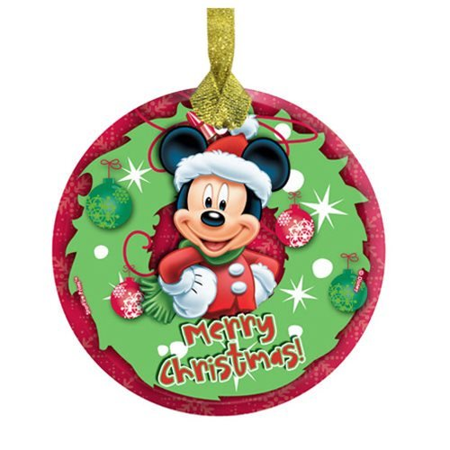 Mickey Mouse Merry Christmas Hanging StarFire Glass Print