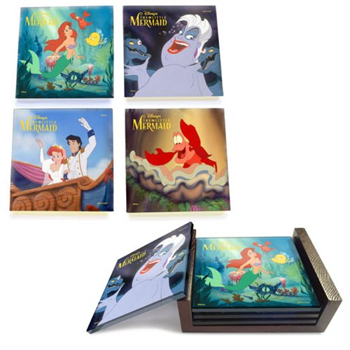 The Little Mermaid StarFire Prints Glass Coaster Set