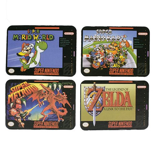 Super Nintendo SNES Cartridge Coasters 4-Pack