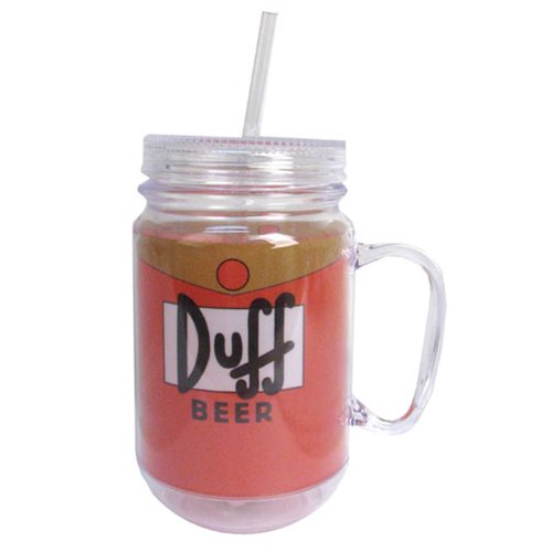 The Simpsons Duff 16 oz. Mason-Style Plastic Jar with Lid and Handle