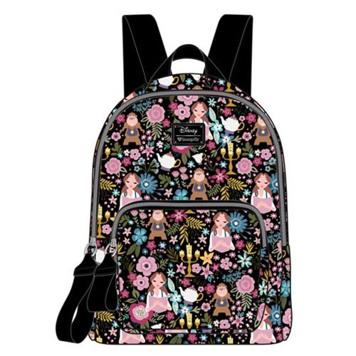 f462c85cbaa7 Beauty and the Beast Belle Character Floral Print Black Mini Backpack ...