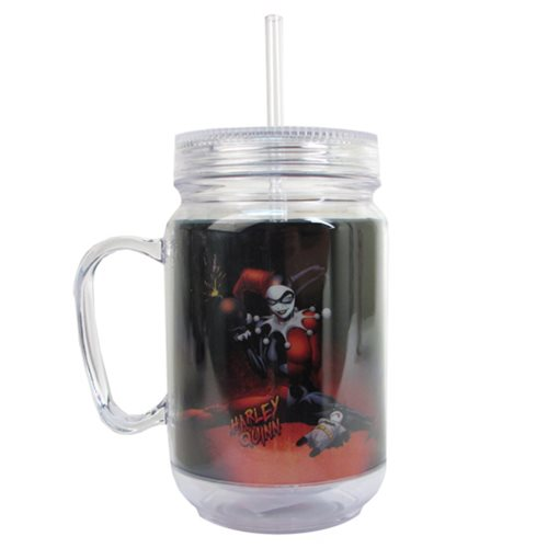 Batman Harley Quinn 16 oz. Mason-Style Plastic Jar with Lid and Handle