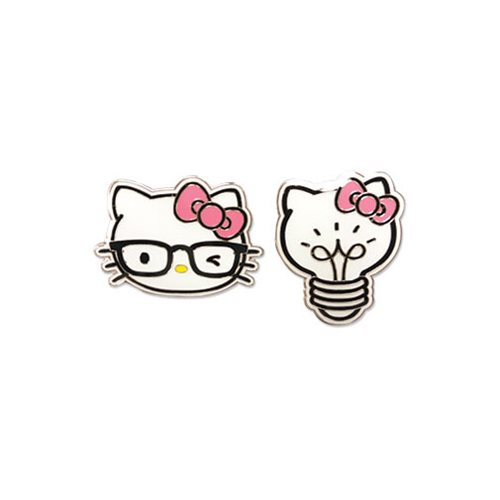 Hello Kitty Kitty Head and Light Bulb Enamel Pin Set