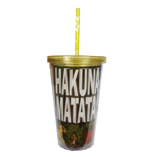 Lion King Hakuna Matata Yellow 16 oz. Plastic Travel Cup