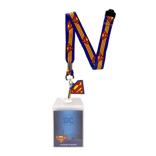 Superman Wrap Logo Lanyard with Badge Holder and Charm