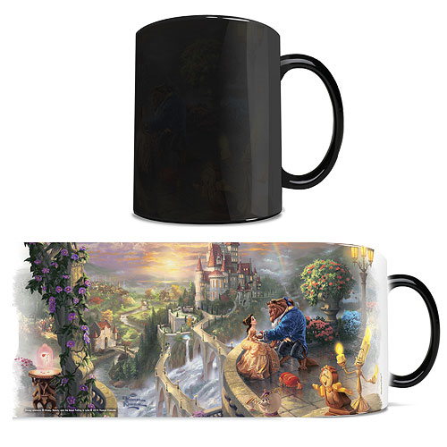 Disney Beauty and the Beast Falling in Love Thomas Kinkade Studios Morphing Mug