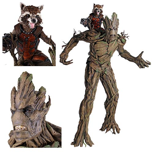 Guardians of the Galaxy Movie Rocket Raccoon and Groot Statue