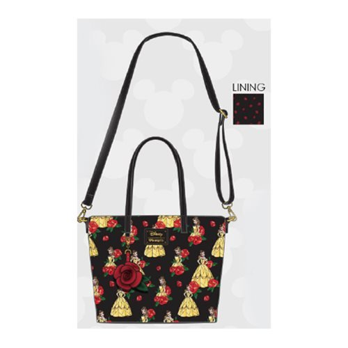 Beauty and the Beast Belle Print Roses Tote Purse