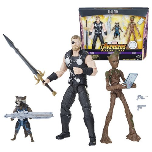 Marvel Legends Thor, Rocket, and Groot Action Figures