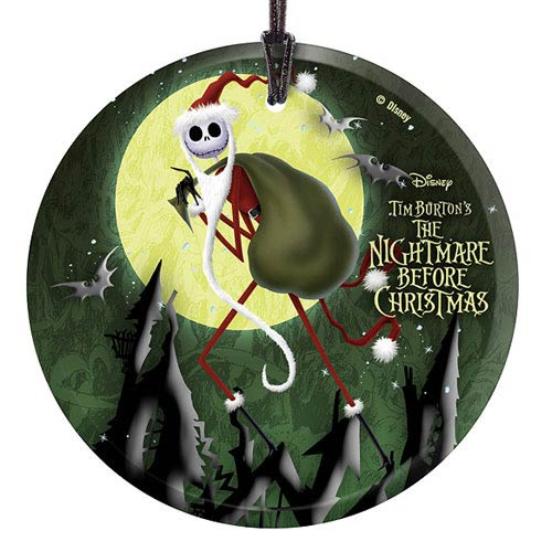 Nightmare Before Christmas Santa Jack StarFire Prints Hanging Glass Print