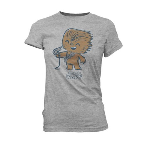 Star Wars Chewy with Hair Dryer Super Cute Juniors T-Shirt