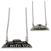 Star Wars May the Force Be with You Silver Pendant Necklace