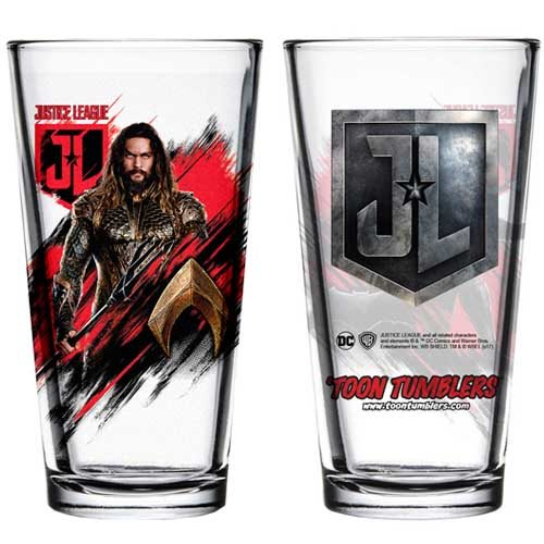 Justice League Movie Aquaman Toon Tumbler Pint Glass