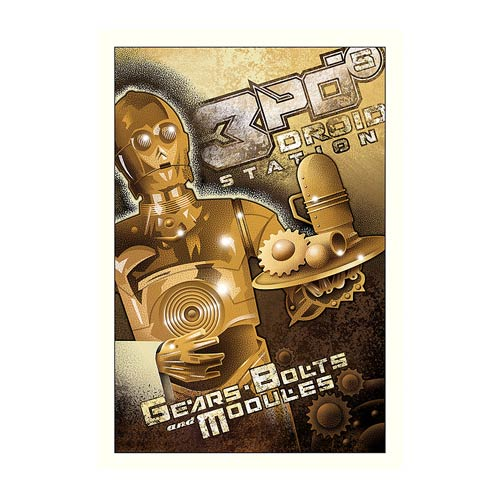 Star Wars 3PO's Droid Station Paper Giclee Print
