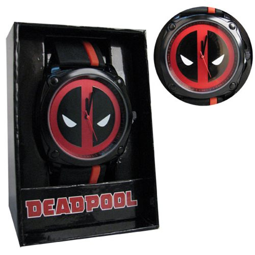 Deadpool Logo Dial Side Stripe Rubber Strap Watch