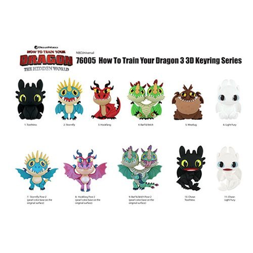 How to Train Your Dragon 3-D Figural Key Chain Random 6-Pack