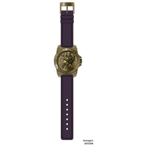 Avengers Infinity Gauntlet Molded Antique Gold Bezel with Purple Strap Watch