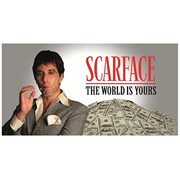 Scarface The World is Yours Gray Background Glass Poster