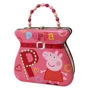 Peppa Pig Embossed Purse with Beaded Handle Tin Tote