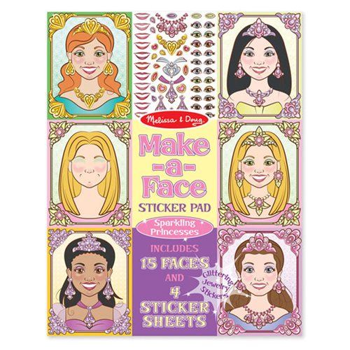 Melissa & Doug Sparkling Princesses Make-a-Face Sticker Pad
