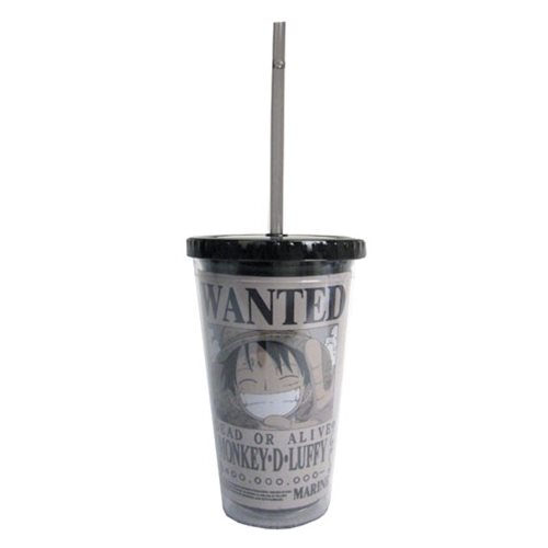 One Piece Monkey D. Luffy Wanted Dead or Alive Travel Cup