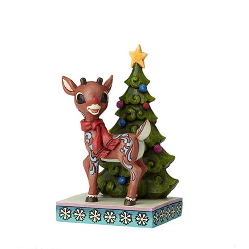 Rudolph the Red-Nosed Reindeer Rudolph Standing By Tree Statue by Jim Shore
