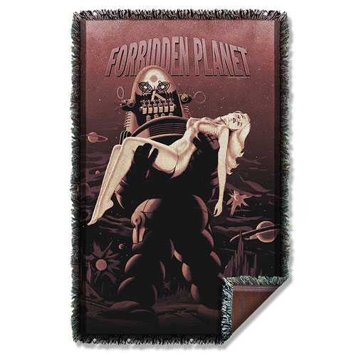 Forbidden Planet Poster Woven Tapestry Throw Blanket