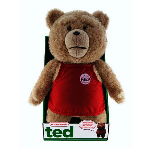 Ted in Apron 16-Inch Talking Plush Teddy Bear with Moving Mouth