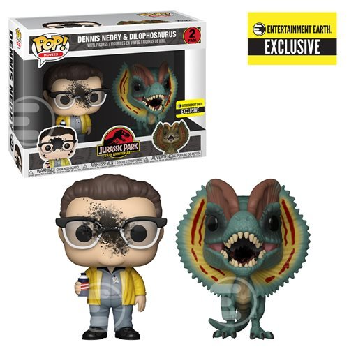 Jurassic Park Dennis Nedry and Dilophosaurus Goo-Splattered Pop! Vinyl Figure 2-Pack - Entertainment Earth Exclusive