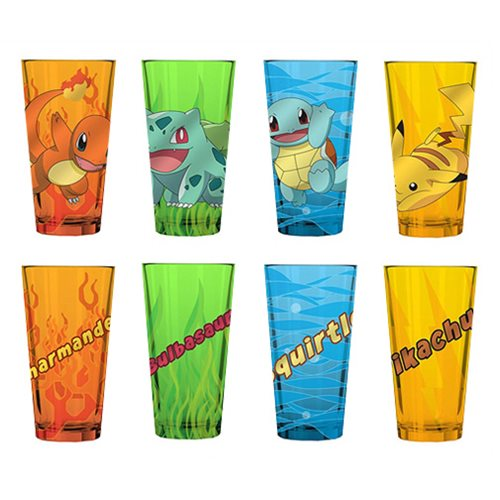 Pokemon Starter Group Colored Pint Glass 4-Pack