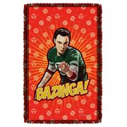 Big Bang Theory Bazinga Woven Tapestry Throw Blanket