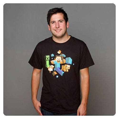 Minecraft Run Away! Glow-in-the-Dark Black T-Shirt