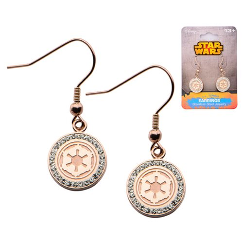 Star Wars Galactic Empire Symbol with Gems Stainless Steel Rose Gold Plated Hook Dangle Earrings