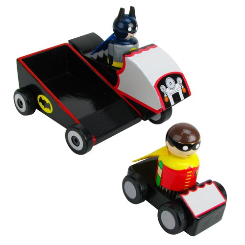 Batman TV Series Original Batcycle with Batman and Robin Wooden Collectible Pin Mates Set - Convention Exclusive