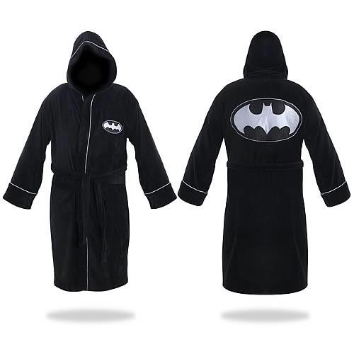 b1fc2b0cec Batman Black and Silver Hooded Cotton Bathrobe - Entertainment Earth