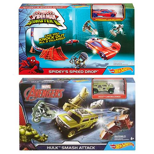 Marvel Hot Wheels Hulk and Spider-Man Playset Case