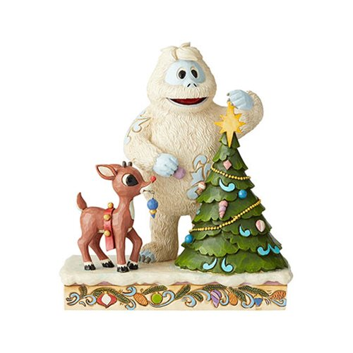 Rudolph the Red-Nosed Reindeer and Bumble with Tree by Jim Shore Statue