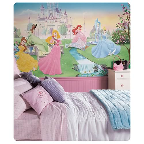 Disney Dancing Princesses Chair Rail Prepasted Wall Mural