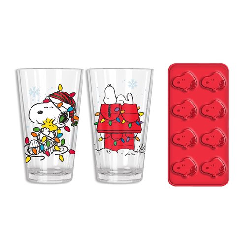 Peanuts Snoopy House and Lights Pub Glasses 2-Piece Set with Ice Tray