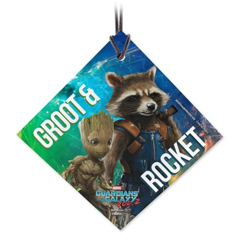 Guardians of the Galaxy Vol. 2 Rocket and Baby Groot StarFire Prints Hanging Glass Ornament