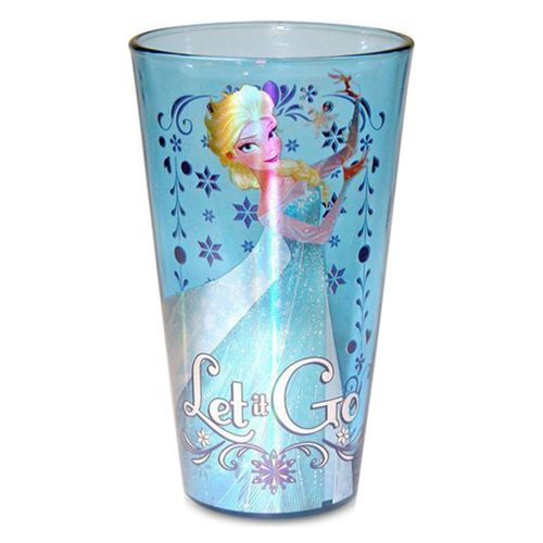 Disney Frozen Elsa Let it Go Blue Glitter 16 oz. Pint Glass