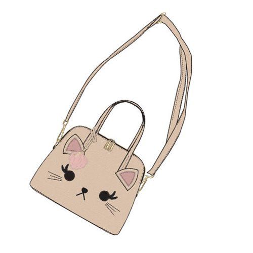 Cat Eyelash Tan Mini Dome Purse